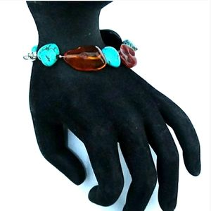 ALL Natural Turquoise Baltic Amber Onyx 925 Silver